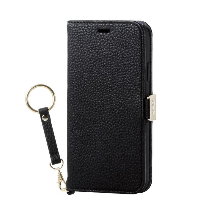 iPhone XR ケース ソフトレザー手帳型ケース 磁石 ストラップ付 ブラック iPhone XR_0