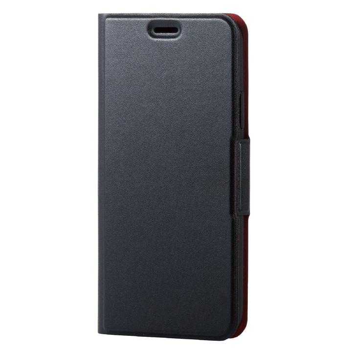 iPhone XS ケース ソフトレザー薄型手帳型ケース 磁石付 ブラック iPhone XS_0