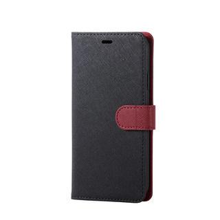 iPhone XR ケース ソフトレザー手帳型ケース サフィアノ スナップ付 ブラック×レッド iPhone XR