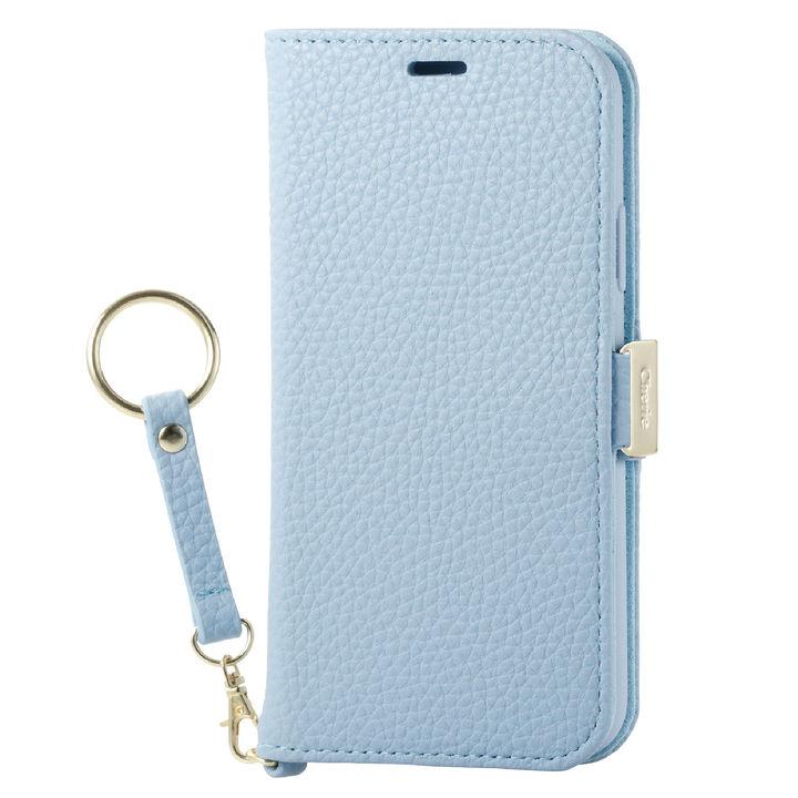 iPhone XS ケース ソフトレザー手帳型ケース 磁石 ストラップ付 ブルー iPhone XS_0
