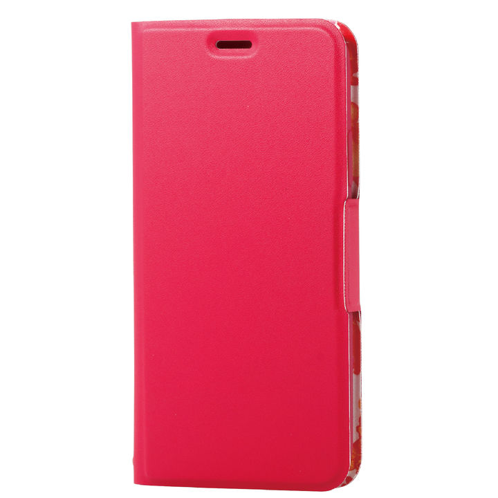 iPhone XS ケース ソフトレザー薄型手帳型ケース 磁石付 フラワー/ディープピンク iPhone XS_0