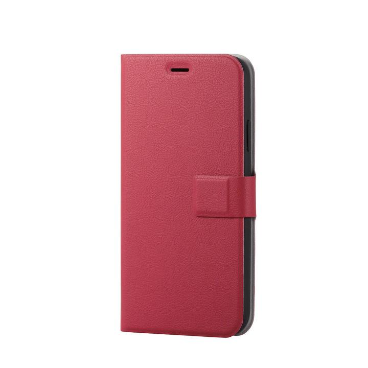 iPhone XR ケース ソフトレザー薄型手帳型ケース 磁石付 レッド スナップ iPhone XR_0