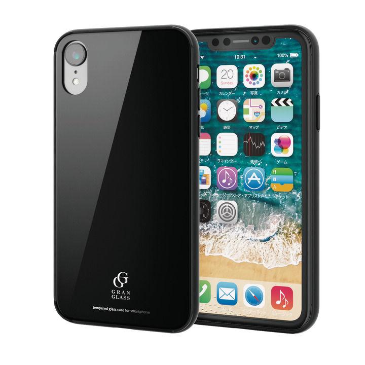iPhone XR ケース ハイブリッド強化ガラスケース 背面カラー ブラック iPhone XR_0