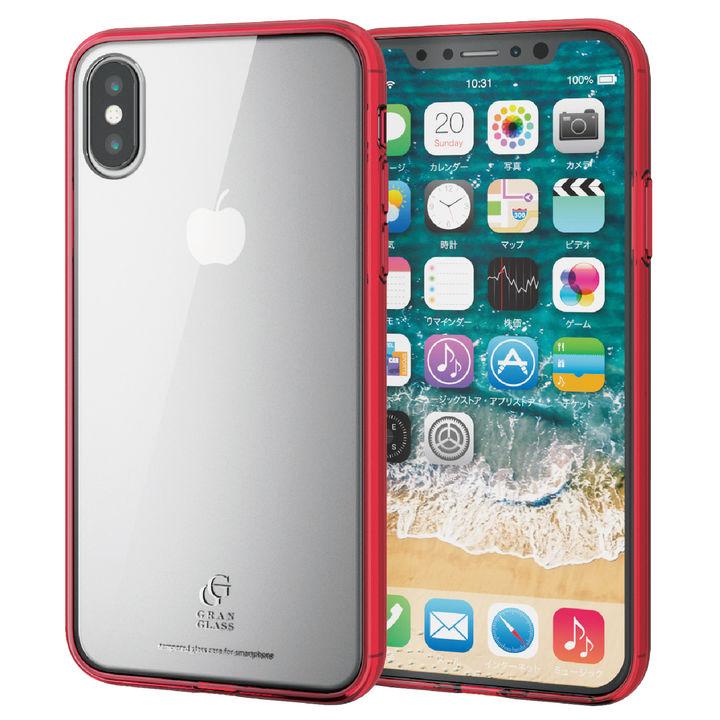 iPhone XS ケース ハイブリッド強化ガラスケース スタンダード クリアレッド iPhone XS_0