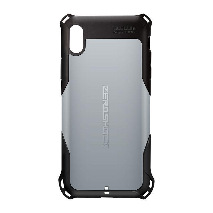 iPhone XS Max ケース ZEROSHOCK 耐衝撃吸収ケース スタンダード シルバー iPhone XS Max_0
