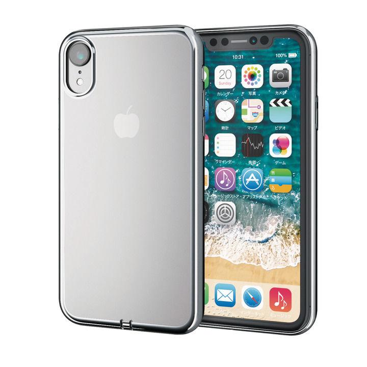 iPhone XR ケース サイドメッキソフトケース シルバー iPhone XR_0