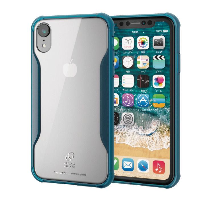 iPhone XR ケース ハイブリッド強化ガラスケース 耐衝撃設計 クリアブルー iPhone XR_0