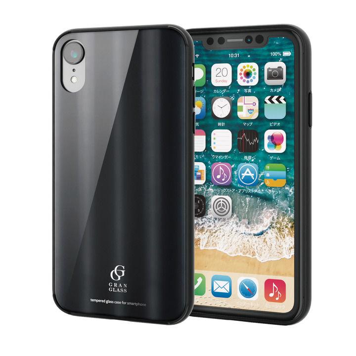 iPhone XR ケース ハイブリッド強化ガラスケース 背面カラー メタリック調ブラック iPhone XR_0