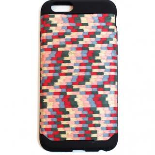 【iPhone6ケース】木材の素材感を生かしたウッドスキン レインボースクエア iPhone 6ケース