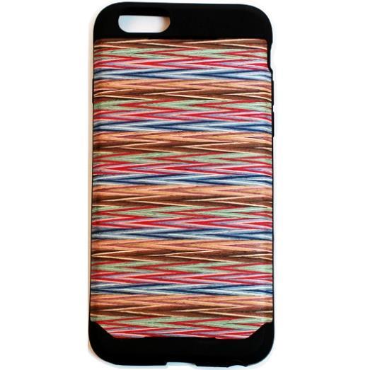 木材の素材感を生かしたウッドスキン レインボーチェック iPhone 6ケース