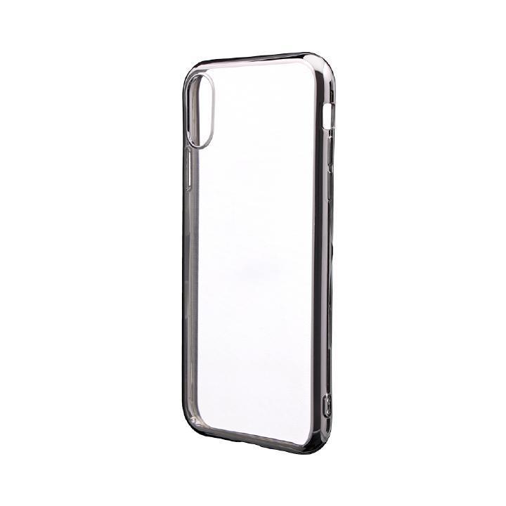 iPhone XR ケース 「剛柔」 メタル塗装ソフトケース「メタルクリア」 シルバー iPhone XR_0