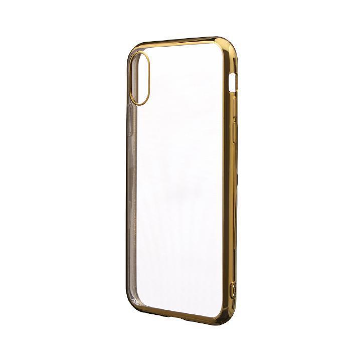 iPhone XR ケース 「剛柔」 メタル塗装ソフトケース「メタルクリア」 ゴールド iPhone XR_0
