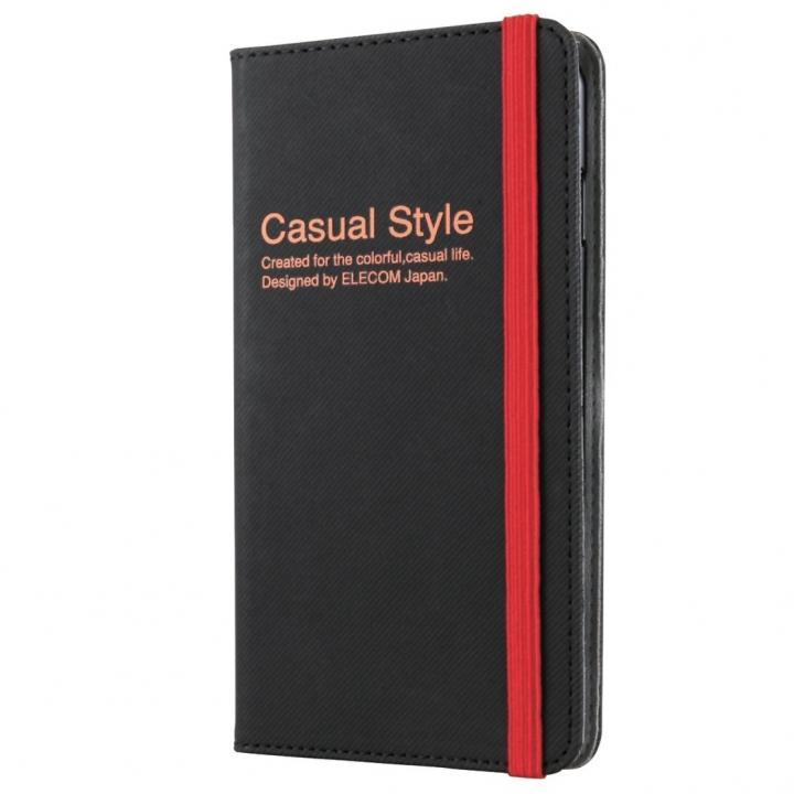 キャンバス生地カジュアル手帳型ケース ブラック iPhone 6 Plusケース