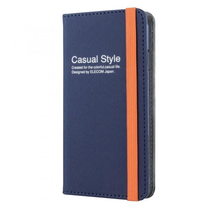 キャンバス生地カジュアル手帳型ケース ブルー iPhone 6ケース