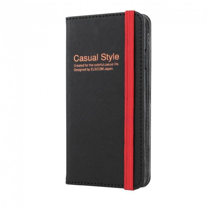 【iPhone6ケース】キャンバス生地カジュアル手帳型ケース ブラック iPhone 6ケース_0