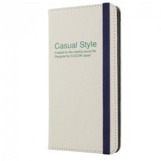 【iPhone6 Plusケース】キャンバス生地カジュアル手帳型ケース ホワイト iPhone 6 Plusケース