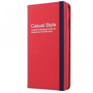 キャンバス生地カジュアル手帳型ケース レッド iPhone 6 Plusケース