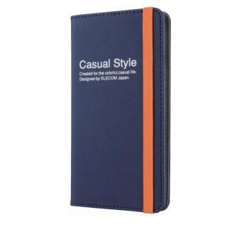 キャンバス生地カジュアル手帳型ケース ブルー iPhone 6 Plusケース