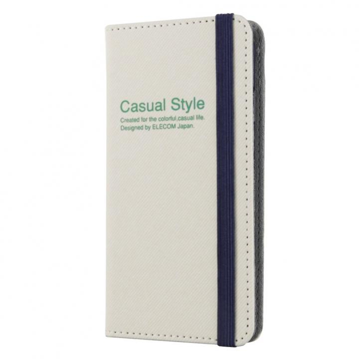 【iPhone6ケース】キャンバス生地カジュアル手帳型ケース ホワイト iPhone 6ケース_0