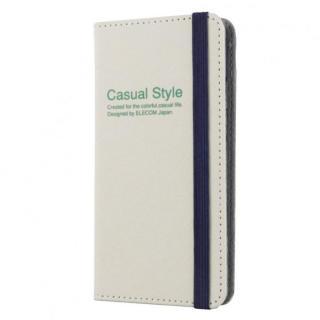 キャンバス生地カジュアル手帳型ケース ホワイト iPhone 6ケース