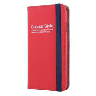 キャンバス生地カジュアル手帳型ケース レッド iPhone 6ケース