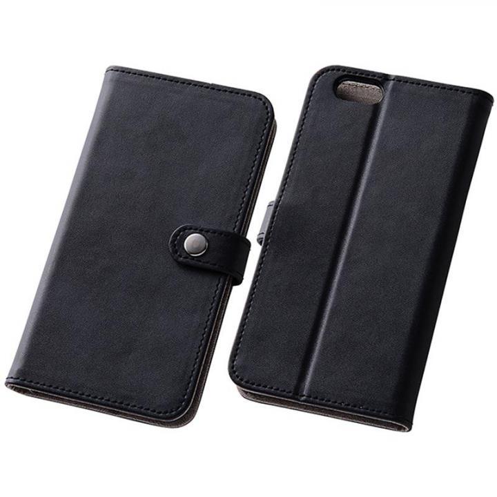 【iPhone6s/6ケース】シンプルレザー手帳型ケース ブラック iPhone 6s/6_0