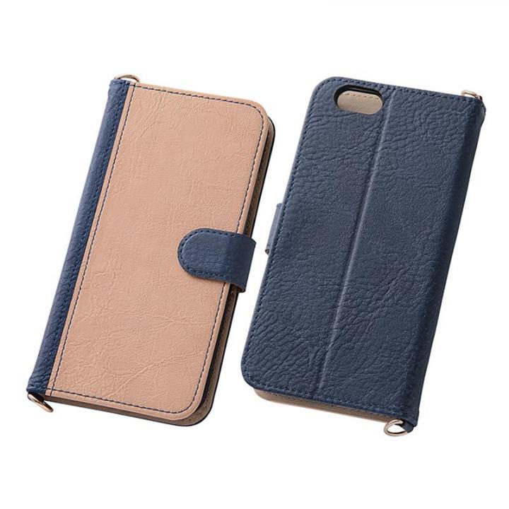 iPhone6s/6 ケース バイカラーレザー手帳型ケース ダークネイビー/ベージュ iPhone 6s/6_0