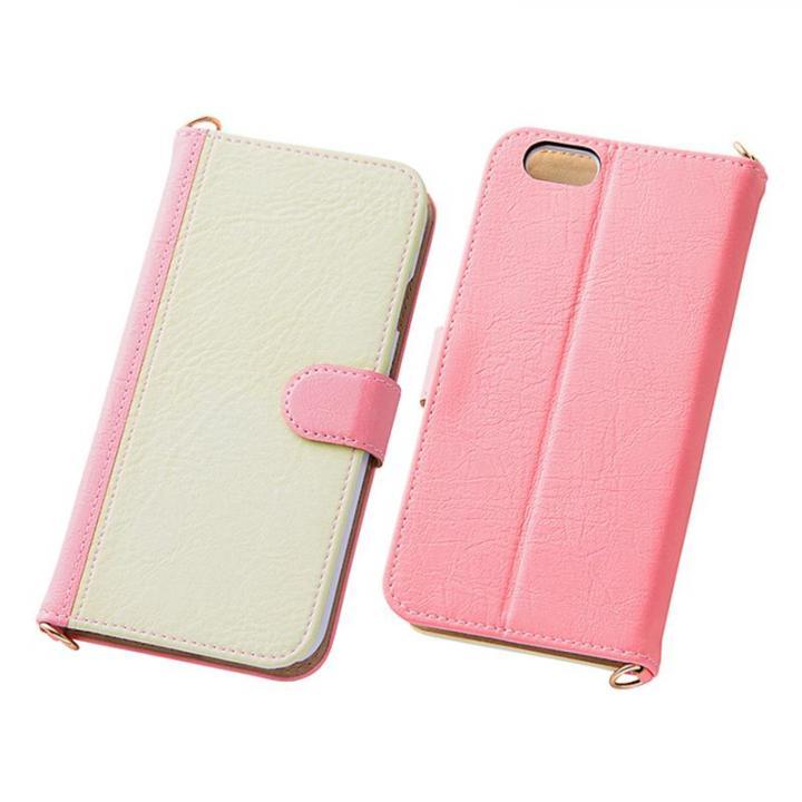 iPhone6s/6 ケース バイカラーレザー手帳型ケース ピンク/ホワイト iPhone 6s/6_0