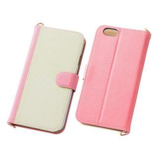 iPhone6s/6 ケース バイカラーレザー手帳型ケース ピンク/ホワイト iPhone 6s/6