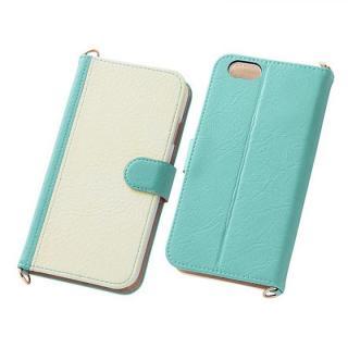 【iPhone6s/6ケース】バイカラーレザー手帳型ケース ターコイズ/ホワイト iPhone 6s/6