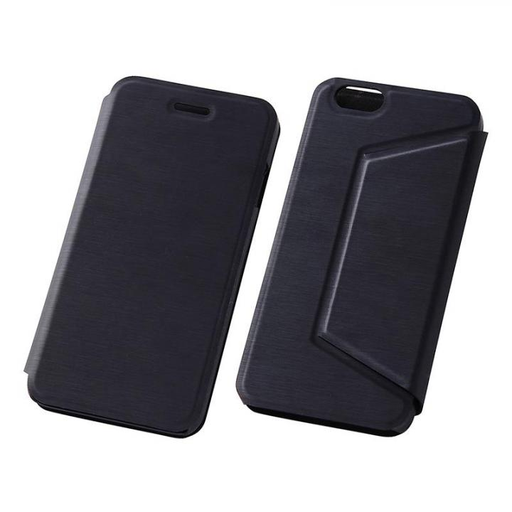【iPhone6s/6ケース】スタンド機能付きスリム手帳型ケース ブラック iPhone 6s/6_0
