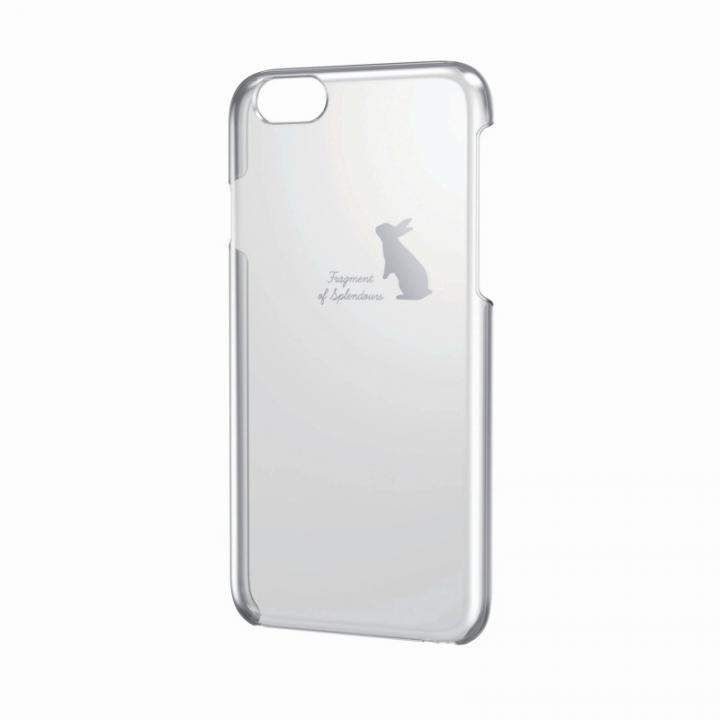 【iPhone6ケース】アートに演出 アップルテクスチャーハードクリアケース シルバー ウサギ iPhone 6ケース_0