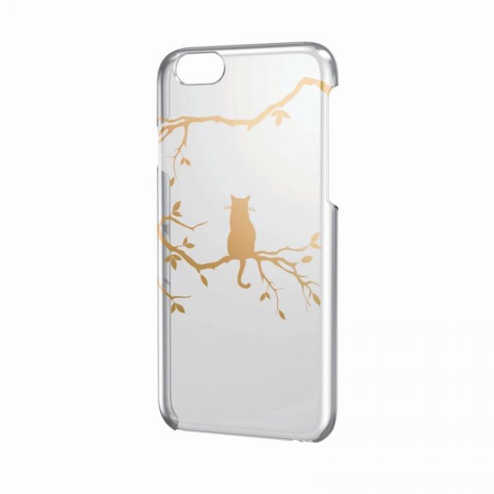 iPhone6 ケース アップルテクスチャーハードクリアケース ゴールド 木登りネコ iPhone 6ケース_0