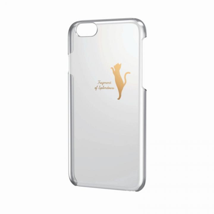 【iPhone6ケース】アップルテクスチャーハードクリアケース ゴールド ネコ iPhone 6ケース_0
