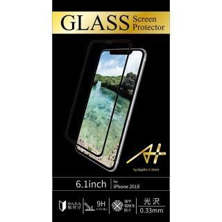 A+ GLASS Screen Protector 画面フルカバー強化ガラスフィルム 透明タイプ ブラック for iPhone XR