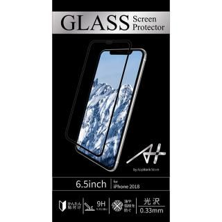 iPhone XS Max フィルム A+ GLASS Screen Protector 画面フルカバー強化ガラスフィルム 透明タイプ ブラック for iPhone XS Max