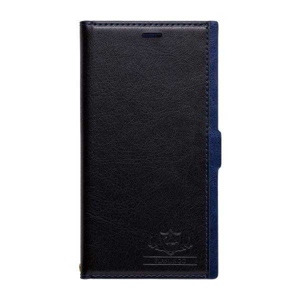 【iPhone XS/Xケース】FLAMINGO PUレザー手帳型ケース ブラック/ブルー iPhone XS/X_0