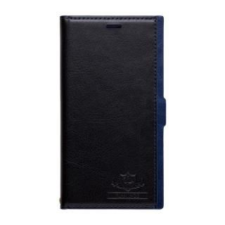 FLAMINGO PUレザー手帳型ケース ブラック/ブルー iPhone X