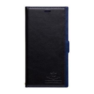 FLAMINGO PUレザー手帳型ケース ブラック/ブルー iPhone XS/X