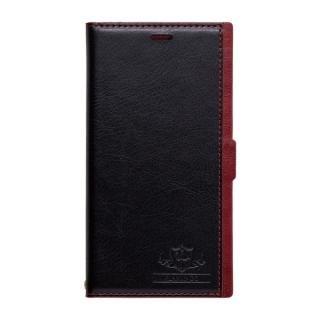 FLAMINGO PUレザー手帳型ケース ブラック/レッド iPhone XS/X