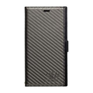 【iPhone X ケース】FLAMINGO PUレザー手帳型ケース カーボン/グレイ iPhone X
