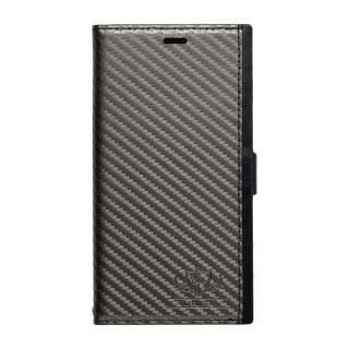 FLAMINGO PUレザー手帳型ケース カーボン/グレイ iPhone X