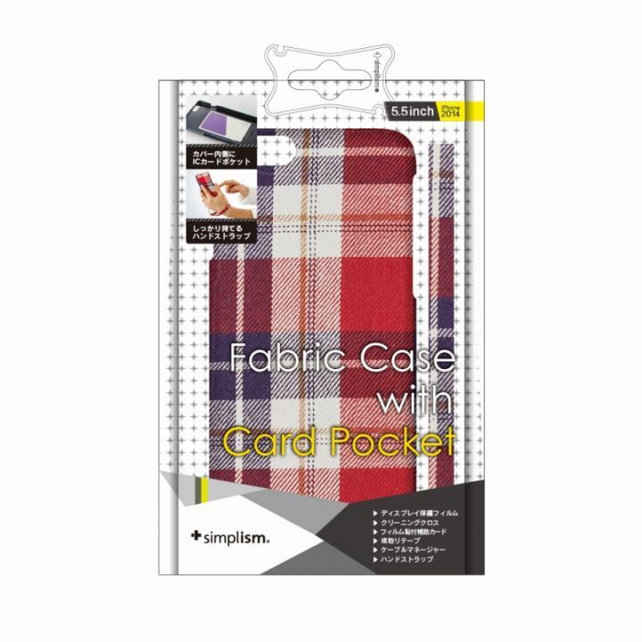 iPhone6 Plus ケース カードポケットファブリックケース レッドチェック iPhone 6 Plusケース_0