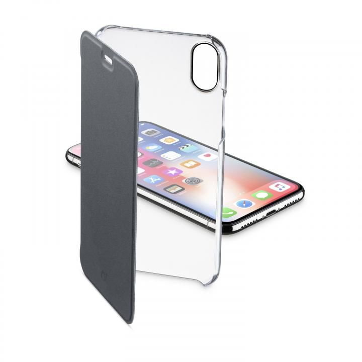 iPhone XS/X ケース 背面クリア手帳型ケース Clearbook ブラック iPhone XS/X_0