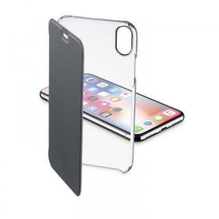 iPhone XS/X ケース 背面クリア手帳型ケース Clearbook ブラック iPhone XS/X
