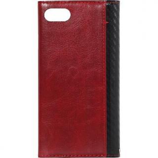 【iPhone8/7ケース】FLAMINGO Carbon PUレザー手帳型ケース ブラック/レッド iPhone 8/7_2