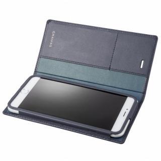 【11月上旬】GRAMAS フルレザー手帳型ケース ネイビー iPhone 6 Plus