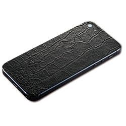 iPhone SE/5s/5用 テクスチャー背面シート(クロコダイルブラック)