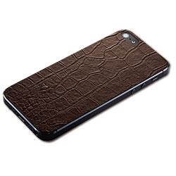 iPhone SE/5s/5用 テクスチャー背面シート(クロコダイルブラウン)