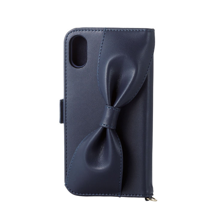 iPhone XR ケース ソフトレザー手帳型ケース 背面リボン ネイビー iPhone XR_0